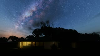 House and Milky Way stars at night. Elements of this image furnished by NASA