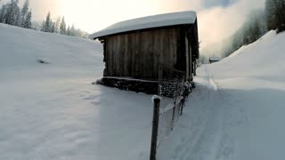 house in the wilderness. snow winter lanscape