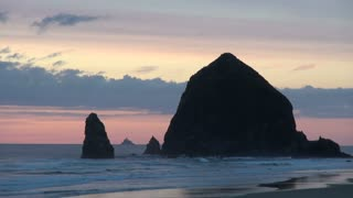 Huge Haystack Rock on Cannon Beach in the Evening