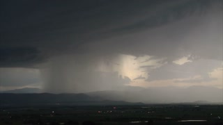 Huge Lightening Storm Over Landscape
