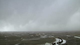 Huge Snow Storm Rolling In Over Landscape