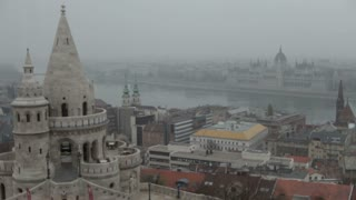 Hungarian Parliament Building Across Waterfront