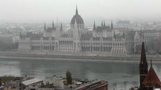 Hungarian Parliament Building in Fog