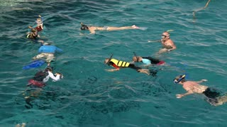 HURGHADA, EGYPT - FEBRUARY 1, 2014: People in life-savers and snorkel masks swimming and diving on the open sea