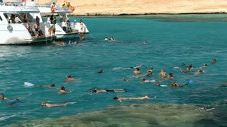 HURGHADA, EGYPT - FEBRUARY 1, 2014: Tilt shot of a group of people swimming in coastal water near the yacht