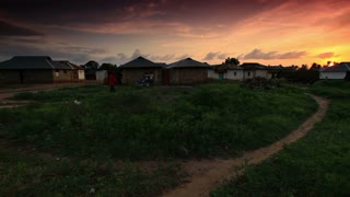 Huts at Sunset Near Mombassa