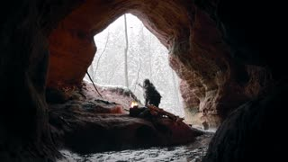 Ice age man in his cave