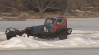 Ice Road Race With Funky Looking Cars