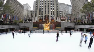 Ice Skating Rink below the Rockefeller Centre building on Fifth Avenue, New York City, New York, United States of America, Time-lapse