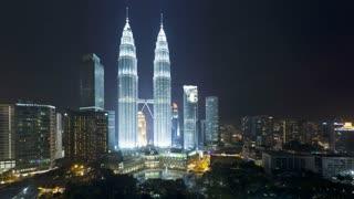 Illuminated night view of the Petronas Twin Towers, Kuala Lumpur City Centre KLCC, Malaysia, Kuala Lumpur, Asia, Time lapse