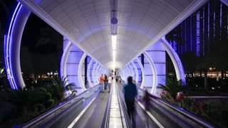 Illuminated walkway (travelator) Time lapse of the entrance to a Casino (Las Vegas Boulevard) at night, Las Vegas, Nevada, United States of America