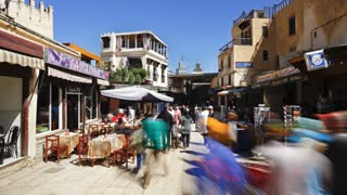 In the Souk, with locals and tourists, Fez, Morocco, North Africa, Africa - T/Lapse