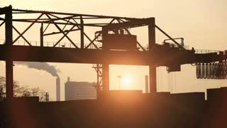 industrial background. container business. logistics. sunset time lapse