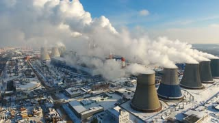 Industrial background of factory pipes. Global warming concept