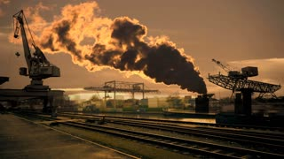 industrial background. smog pollution