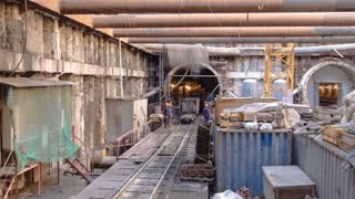 Inside building station platform at Construction of a new circular metro line. Russia, Moscow timelapse 4K