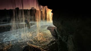 Inside Shot of a Waterfall at Sunset 2