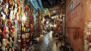 Interior of the Souq in Marrakech, Morocco, North Africa - Time lapse