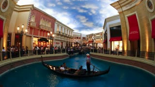 Interior views of the Venetian Hotel and Casino with Canals and Gondoliers on The Strip in Las Vegas, Nevada, USA - Time lapse