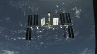 International Space Station Orbitting Earth Horizon