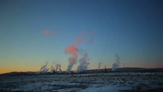 Isolated Power Plant at Dusk