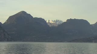 Italy Alpine Peak at Lago di Garda Zooms Out