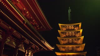 Japanese Temple At Night, Close Up And Angled, Tokyo, Japan