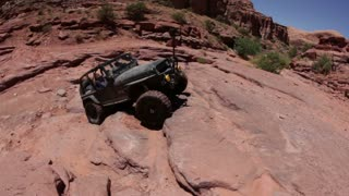 Jeep almost flips over