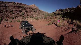 Jeep Bring Towed Up Rocks POV 1