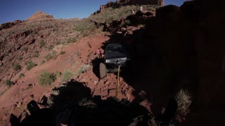 Jeep Bring Towed Up Rocks POV 2