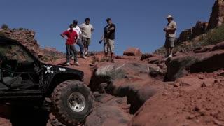 Jeep stuck on rock
