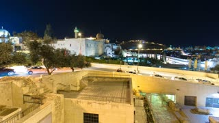 Jerusalem at night timelapse hyperlapse with the Al-Aqsa Mosque and the Mount of Olives. View near western wall