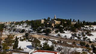 Jerusalem city walls after winter snowfall