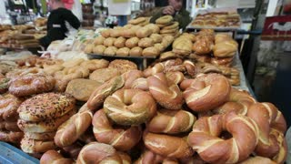 Jerusalem, Sesame round bread for sale in the Old City, Middle East, Israel,