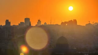 Jerusalem view over the City at sunset timelapse with the Dome of the Rock from the Mount of Olives. Close up view