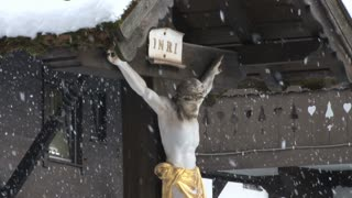 Jesus On Cross In Snow