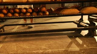 Jib Shot Over Bread In Bakery