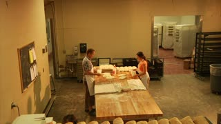 Jib Shot Over Bread In Bakery