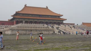 Kids Playing in Front of Forbidden City Temple