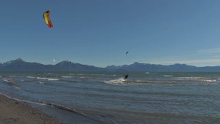 Kite Surfing By Beach Shore