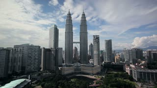 Kuala Lumpur City Centre urban development which includes the KLCC park convention and shopping centre and the iconic 88 storey steel clad Petronas Towers, Kuala Lumpur, KLCC, Selangor State, Malaysia, Asia