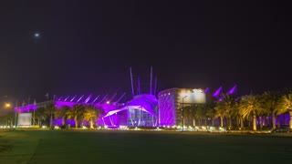Kuwait scientific center with fountain at night timelapse hyperlapse