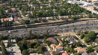 LA Aerial Road Flyby