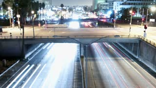 LA Downtown Traffic Night Light Trails