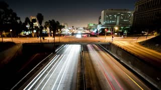 LA Highway Headlight Trails Timelapse