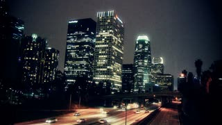 LA Scenic Skyline Roadway Timelapse