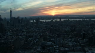 Landscape Manhattan Sunset Aerial