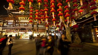 Lanterns hanging in Yuyuan Bazaar district at night, Shanghai, China, Asia, T/Lapse