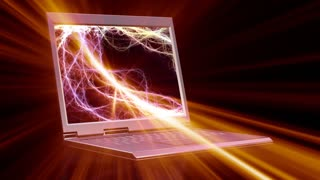 Laptop with animated screen and light beam