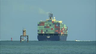 Large Cargo Ship Off the Coast of Miami